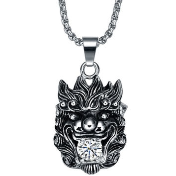Stainless Steel Chinese Lion W. Cubic Zirconia