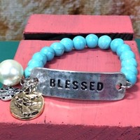 Turquoise Blessed Bracelet With Charms - BRC280TU