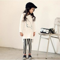 Girls Clothes Set Kid Spring Clothing Sets Cat White Shirt Striped Long Pants Children Clothing Suit Girl Set Kids Clothes