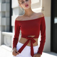 Simplee Sexy off shoulder tie up white crop tops female Long sleeve cropped women Casual bow autumn streetwear shirt ladies tops