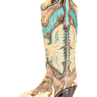 Corral Women's Black/Antique Saddle-Turquoise Eagle Overlay Boot - R2289