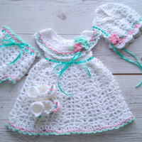 Baby Girl coming home outfit, white mint colors, Crochet baby dress bonnet shoes Diaper cover baby photoshoot  newborn outfit