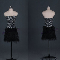 Short black homecoming dress in 2014,chic sexy prom dress with ostrich feather,unique cheap women gowns for cocktail party hot.