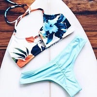 Print Halter Beach Bikini Set Swimsuit Swimwear