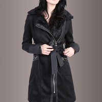 Leather Weather Coat Jacket with Faux Leather Details