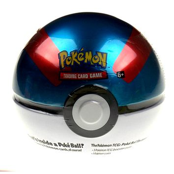 Poke Ball Tin Pokemon Trading Card Game TCG 3 Booster Packs 1 Coin Popup Toy