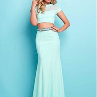 [98.99] Charming Tulle & Chiffon Jewel Neckline Mermaid Two-piece Prom Dresses With Beads & Rinestones - dressilyme.com