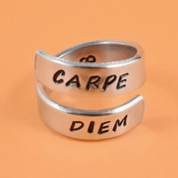 Carpe Diem Ring - Hand Stamped Aphorism Ring, Latin Word Spiral Aluminum Ring, Seize The Day, Inspirational Jewelry