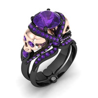Skull Engagement Ring Eye Popper Amethyst
