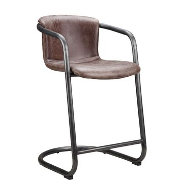 Freeman Modern Industrial Counter Stool Light Brown Distressed Leather (Set Of 2)