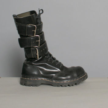 80s Black GRIPFAST BOOTS / Tripe Buckle Tall Leather Boots, 8.5