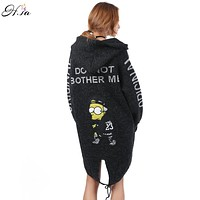 Autumn Winter Cardigan Sweater Coat for Women 2016 Cartoon Printed Long Hooded Sweater Coat Fall Warm Thick Poncho Jacket