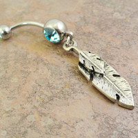 Feather Belly Button Jewelry, Aqua Tribal Feather Belly Ring