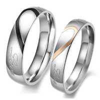 """1PCS Mens OR Womens Hearte 316L Stainless Steel Promise Ring """"Real Love"""" Couples Wedding Bands From Milkle Gift"""