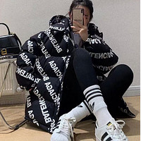 Balenciaga full screen lettered print cotton padded loose hooded bread suit for men and women