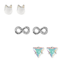Katy Perry Silver Infinity, Cat and Prism Stud Earrings Set of 3