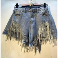 Women Fashion Denim Rhinestone Tassel Ripped High Waist Shorts