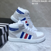 DCCK A441 Adidas Originals Forum Mid Suede Leather Fashion Skate Shoes White Gray Blue Red