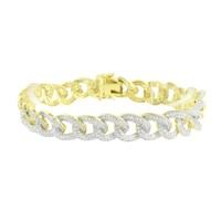Miami Cuban Bracelet 14K Gold Finish Simulated Diamonds