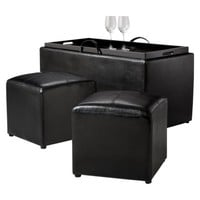 Sheridan Leather 4 Piece Double Storage Ottoman with Tray - Black