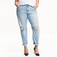 Casual Broken Hole Denim Jeans