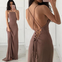 Prom Dress Sexy Backless Slim One Piece Dress [9548157903]