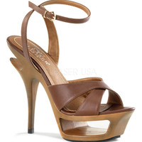 Brown Leather Cross Strap Deluxe Cutout Sandal Pumps