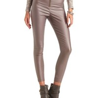 Zip-Up Coated High-Waisted Skinny Pants by Charlotte Russe - Brown