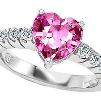 Star K 8mm Heart-Shape Created Pink Sapphire Ring Size 7