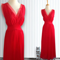 Vintage 1960s Nylon Nightgown in Red, Nightgown, Vintage Gown, Size Large