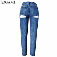 Ripped Mom Jeans For Women Sexy Distressed Jeans Woman Push Up High Waist Jean Pants Femme American Apparel 2017