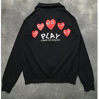 """Comme des garçon play"" Popular Women Men Casual Heart Embroidery Long Sleeve Zipper Cardigan Sweatshirt Jacket Coat Black"