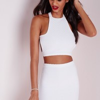 Missguided - Jacquard Cross Back Crop Top White