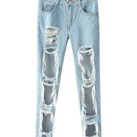 Ripped Cut-Out Fringed Pants