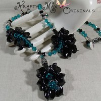 Black Lilly and Swarovski Crystals Flower Necklace Set