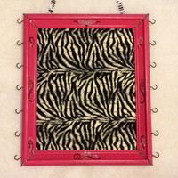 Jewelry hair bow accessory organizer display holder bulletin board Upcycled Framed chicken wire hot pink zebra fur bedroom decor custom
