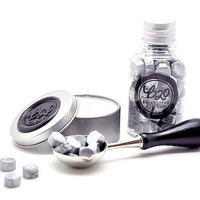 B20 Sealing Wax Beads in Bottle. Silver. Spoon & Candle Available for Set.