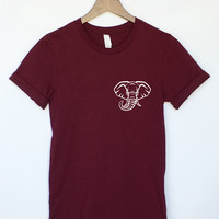 Elephant Head Pocket T-Shirt in Maroon
