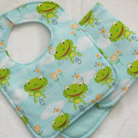 Handmade Baby Bib, Infant or Toddler, Frogs,  animals, Gender neutral