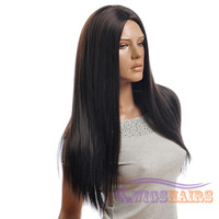 """26"""" long Straight without Bangs Synthetic Wigs for Women Basic Cap Black"""