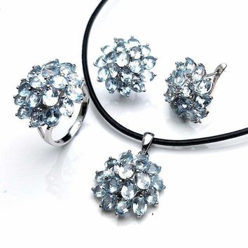 Romantic Natural Blue Topaz Gemstone Ring Pendant Earring Jewelry Set