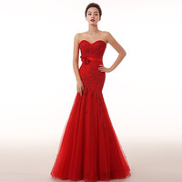 Beautiful lace beaded 2015 new red wedding bride dress wedding dress mermaid sweet = 1929396164