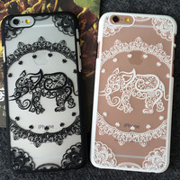 Cute Hollow Out Elephant  iPhone  8 7 7Plus & iPhone 6s 6 Plus Case +Gift Box