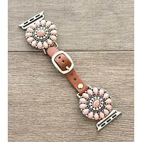 Western Pink Stone Apple Watch Leather Band