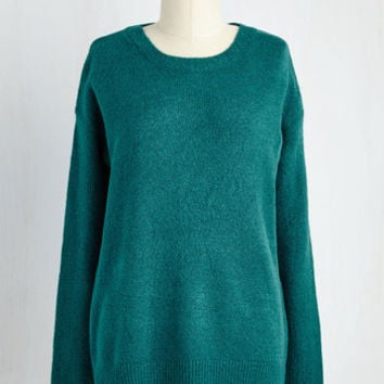 Mid-length Long Sleeve Plain and Staple Sweater