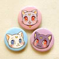 "Sailor Moon Cats 1.75"" Pinback Button Set of 3: Sailor Moon Anime Luna, Artemis, Diana Pin Set, Cute Cats Pin Badges, Anime Brooch Pin, Gift"