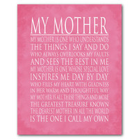 Typography art poster - My Mother - Mother's Day Gift - Word Art print - My mother is... tribute to mom - Inspirational quote - vintage look