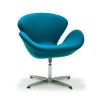 Modern Curved Swivel Chair in Turquoise