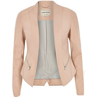 River Island Womens Light pink leather-look fitted jacket