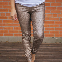 Sequin Legging - CHAMPANGE